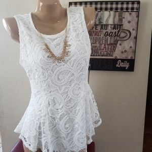 Scobe White Lace Peplum Top Necklace Included